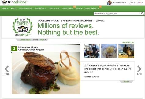 Millones de usuarios eligen los mejores restaurantes en TrypAdvisor.