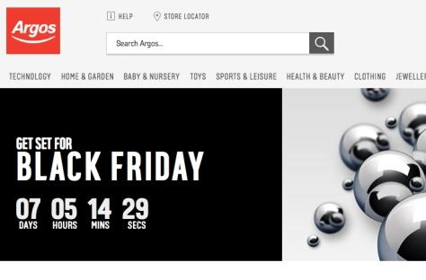 Cuenta atrás en Argos para las ofertas del Black Friday