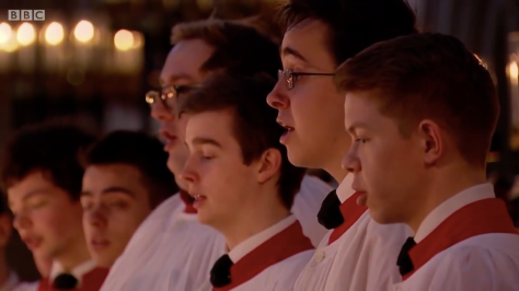 King's College Choir en una de sus actuaciones retransmitidas por la BBC.