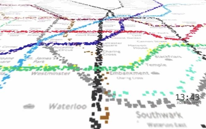Un video recrea la actividad de un día completo en el metro de Londres